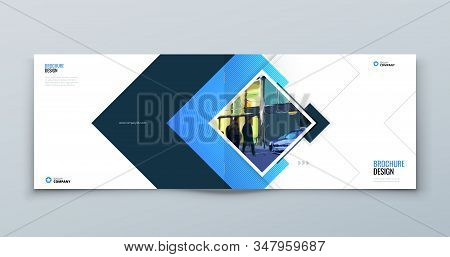 Blue Landscape Cover Background Design. Corporate Template For Business Annual Report, Catalog, Maga