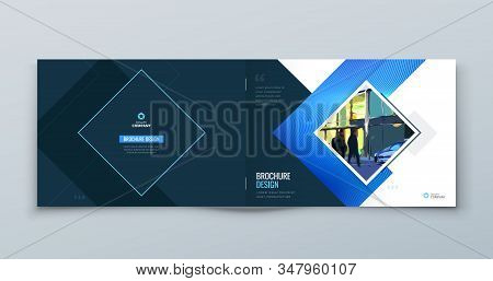Horizontal Blue Square Brochure Cover. Modern Concept With Square Rhombus Shapes. Vector Background.
