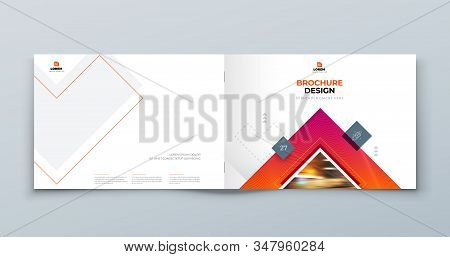 Horizontal Brochure Cover Background Design. Corporate Template Layout For Business Annual Report, C