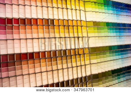 Sydney, Australia 2020-01-30 Paint Swatches Color Samples On Display At Bunnings Warehouse Store.