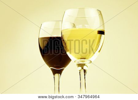 Glass of red wine and glass of red wine