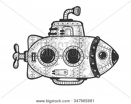 Cartoon Steampunk Submarine Sketch Engraving Vector Illustration. T-shirt Apparel Print Design. Scra