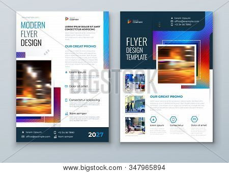 Blue Flyer Design. Modern Flyer Concept With Square Rhombus Shapes. Vector Background. Set - Gb075