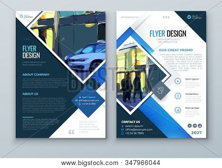 Blue Flyer Design. Trendy Flyer Conept With Square Rhombus Shapes. Vector Background. Set - Gb075