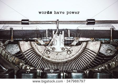 Old Vintage Typewriter, Retro Machine With White Sheet Of Paper And Typed Text