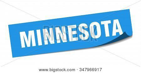 Minnesota Sticker. Minnesota Blue Square Peeler Sign