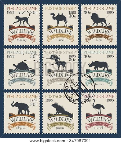 Vector Set Of Postage Stamps On The Theme Of Wildlife Animals And Birds With Postmarks. Philatelic C