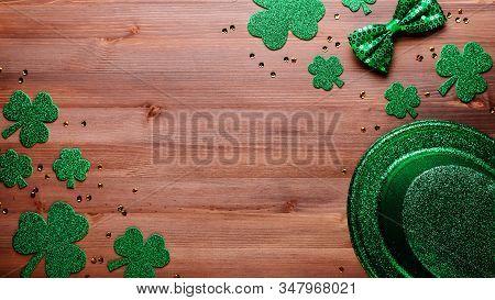 Happy Saint Patricks Day Greeting Card With Traditional Symbols, Shamrock, Green Attire. Green Hat,
