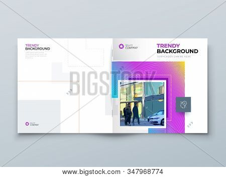 Brochure Cover Background Design. Modern Brochure Concept With Square Rhombus Shapes. Vector Backgro