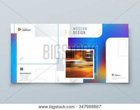Blue Square Brochure Cover. Modern Concept With Square Rhombus Shapes. Vector Background. Set - Gb07