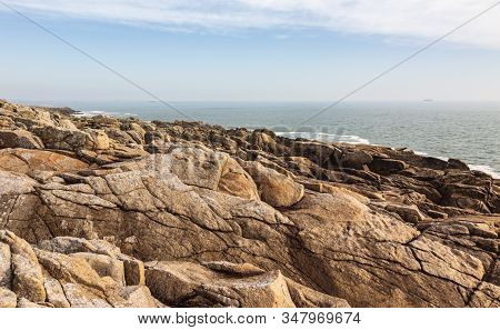 Rocky Landscape On The Brittany Coastline In North Of France.