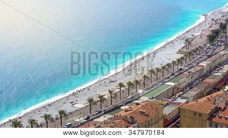 Cityscape Of Nice, Birdeye View Of Buildings, Embankment And Sea, Tourism