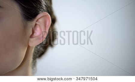 Young Female Ear Closeup, Useless Rumors And Disinformation, Privacy Intrusion