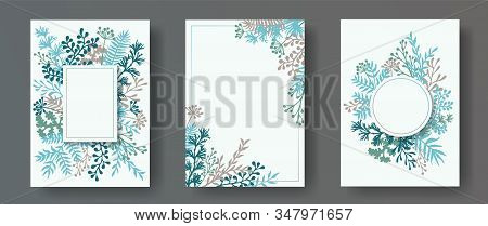 Wild Herb Twigs, Tree Branches, Flowers Floral Invitation Cards Collection. Herbal Frames Rustic Car