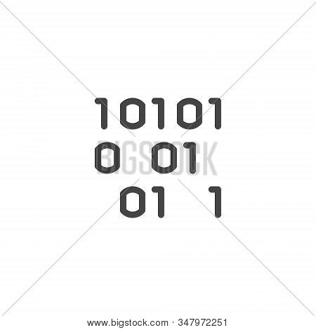 Icon Of Binary Programming Code In Line Design. Abstract Algorithm Numbers One And Zero. Software Da