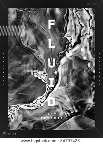 Black And White Fluid Art Backdrop. Abstract Ink Flow Texture. Hand Drawn Granite, Marble Mineral Pa
