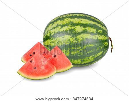 Whold And Sliced Ripe Watermelon With Seeds On White Background