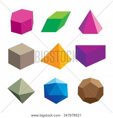 Set Of Volumetric Geometrical Colored Shapes. Polyhedron Collection. Vector Illustration