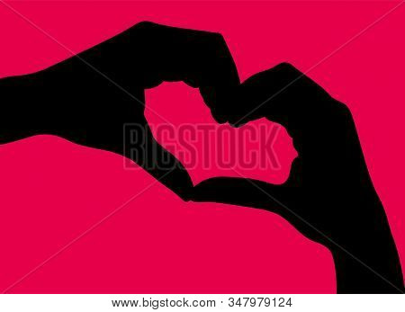 Heart Created With Hands. Hands Gesture Symbolized Love. Hands In Pink Circle. Vector Logo Design Te