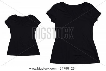 Black T-shirt And T-shirt For Teenager Or Baby Mock Up. Collection Of Various T Shirts On White Back