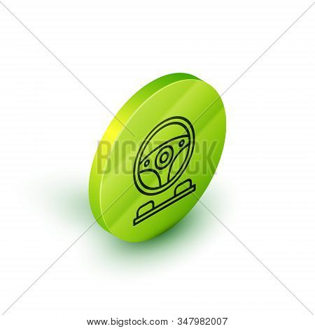 Isometric Line Racing Simulator Cockpit Icon Isolated On White Background. Gaming Accessory. Gadget