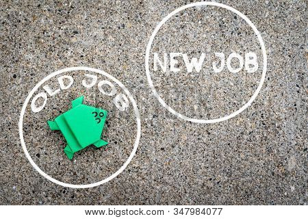 Green Frog Is Ready To Jump From Old Job To New Job For Time Ready For New Job Concept