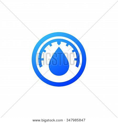 Humidity Vector Icon, Blue On White, Eps 10 File, Easy To Edit