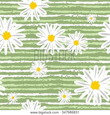 White Daisies And White Line Seamless Vector Pattern On A Green Background. Daisy In Doodle Style. T