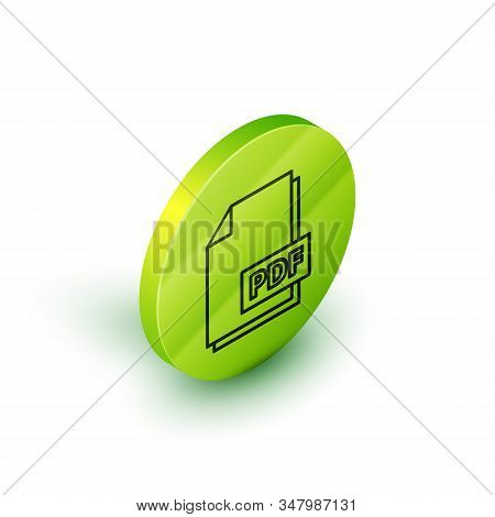 Isometric Line Pdf File Document. Download Pdf Button Icon Isolated On White Background. Pdf File Sy