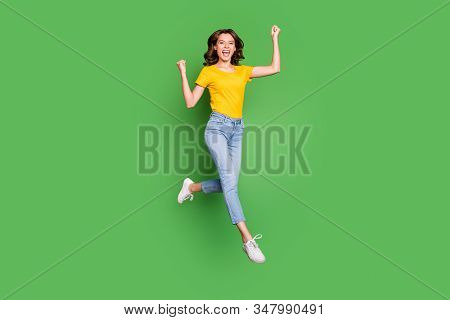 Full Length Body Size View Of Her She Nice Attractive Lovely Cheerful Cheery Lucky Wavy-haired Girl