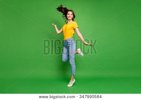 Full Length Body Size View Of Her She Nice Attractive Lovely Cheerful Cheery Wavy-haired Girl Standi