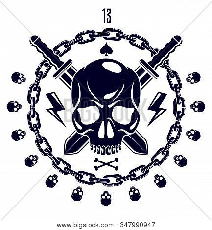 Jolly Roger Dead Head Aggressive Skull, Pirates Vector Emblem Or Logo With Weapons And Other Design