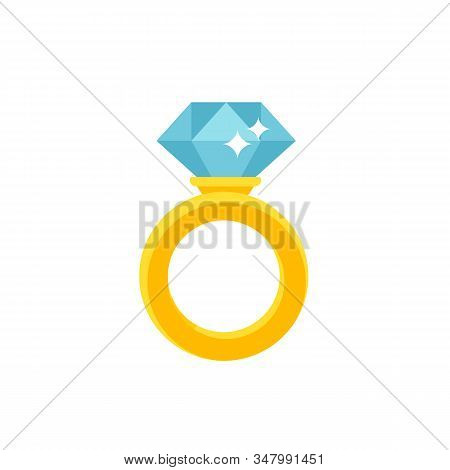 Diamond Ring Icon In Flat Style. Expensive Rich Jewelery Concept Isolated On White Background. Vecto