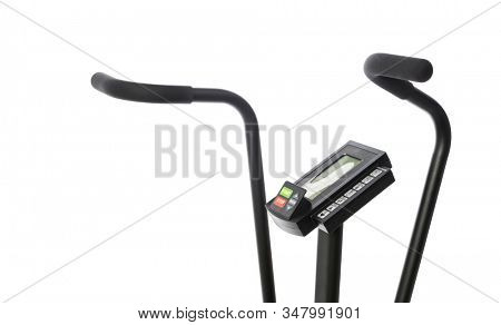 Handles of gym bike isolated on white background