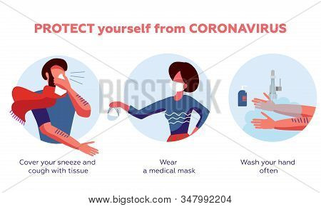 Coronavirus 2019-ncov Disease Prevention Infographic With Illustration And Text, Healtcare And Medic