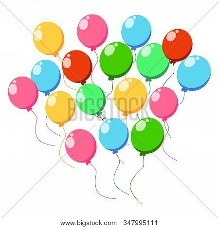 Balloon Set. Shiny Colorful Glossy Balloons Isolated On White Background. Big Collection Of Differen