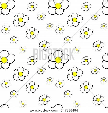 Vector Doodle Illustration With Seamless Pattern Of Fiowers