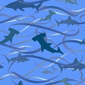 Sharks and waves background - seamless vector tile of swirly water hammerhead and great white sharks poster