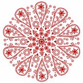 vector illustration of red ornamental round lace poster