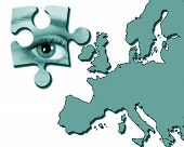 Eye jigsaw piece over map of Europe poster