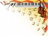 3D illustration for musical corner frame with instruments notes and ribbons poster
