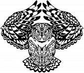 flying owl with open wings looking deep with a sharp gaze. Black and white tattoo. Front view vector illustration poster