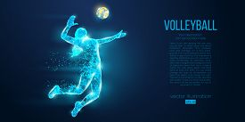 Abstract Silhouette Of Volleyball Player Woman, Girl, Female With Volleyball Ball. All Elements On A