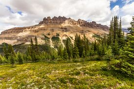 View Of Dolomit Peak From The Hiking Trail To Helen Lake In Banff National Park, Alberta, Canada