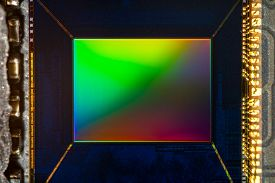 Small Digital Smartphone Camera Cmos Sensor Macro Shot With Rainbow Reflection