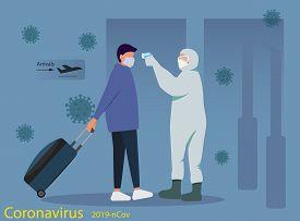 The concept of quarantine coronavirus Coronavirus in China. Remote measurement of the temperature of passengers at the airport. Health, medicine. Website design, print. New coronavirus 2019-nKoV, concept of quarantine coronavirus. MERS-Cov middle East res