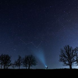 A Man With A Flashlight Shines In The Direction Of The Constellation Cassiopeia. He Stands Among The