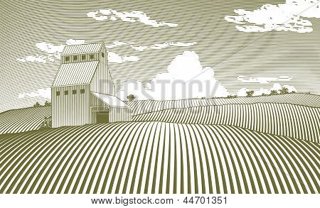 Woodcut style illustration of a grain elevator. poster