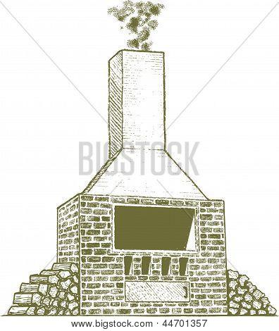 Woodcut Brick Oven
