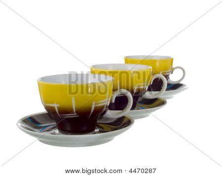 Three Cups With Saucers